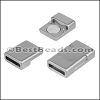 10mm flat ACRYLIC magnet PEWTER - per 10 clasps