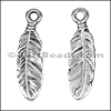 SMALL FEATHER euro charm ANT SILVER - per 10 pieces