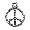 small peace pendant charm per 20 pieces ANT. SILVER