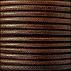 3mm round Euro leather DISTRESSED BROWN - per 25m SPOOL