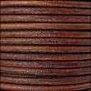 3mm round Euro leather TOBACCO - per 25m SPOOL