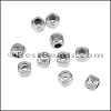 2.9mm round SQUARE bead ANT SILVER - per 10 pieces