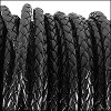 3mm round BRAIDED Euro leather BLACK - per 10 feet