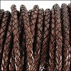 3mm round BRAIDED Euro leather DISTRESSED BROWN - per 10 feet