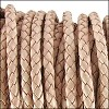 3mm round BRAIDED Euro leather NATURAL - per 10 feet