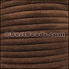5mm Round SUEDE Leather BROWN - per 10 feet