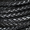 8mm round ITALIAN BRAIDED leather BLACK - per 1 meter
