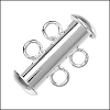 2 ring SLIDE clasp SILVER PLATE - per 36 pieces