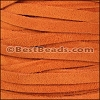 5mm flat SUEDE leather ORANGE - per 5 meters