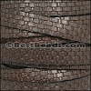 10mm flat BASKETWEAVE leather BROWN - per meter