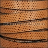 10mm flat PERFORATED leather TAN - per 10m SPOOL