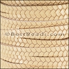 6mm flat IMPRINTED TWIST leather NATURAL- per meter