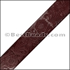 40mm flat ENGRAVED leather BORDEAUX - per meter