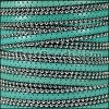 10mm flat BALL CHAIN leather TURQUOISE - per 1 meter