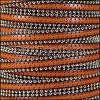 10mm flat BALL CHAIN leather BURNT ORANGE - per 1 meter