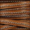 10mm flat CENTER BALL CHAIN leather TOBACCO - per 1 meter