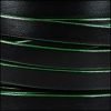 10mm flat leather BLACK with GREEN - per 2 meters