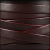 10mm flat leather BROWN with BURGUNDY - per 2 meters