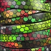 10mm flat ITALIAN PRINTED leather RAINBOW SCALES - per 2 meters
