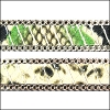 10mm flat CHAIN leather GREEN - per 1 meter