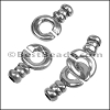 4mm round EYE HOOK clasp ANT SILVER - per 10 clasps