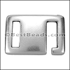10mm flat SQUARE HOOK clasp ANT SILVER - per 10 pieces