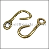 Multi Round RUSTIC FISH HOOK connector ANT BRASS - per 10 pieces