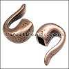4mm round HAMMERED HOOK end ANT COPPER - per 10 pieces