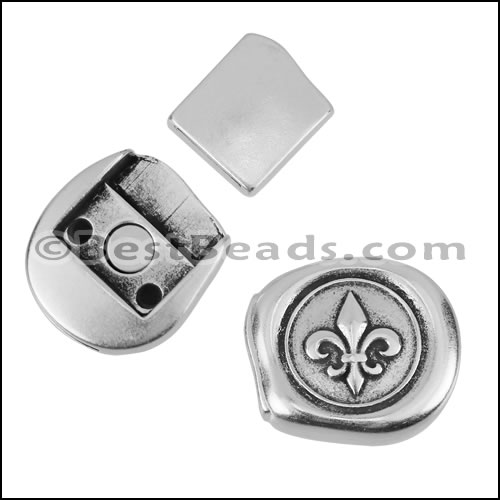 10mm Flat Fleur De Lis Stamp Magnetic Clasp Antique Silver