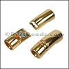 8mm round CURVED TUBE magnetic clasp SHINY GOLD - per 10 clasps