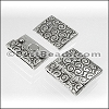 20mm flat SWIRL magnetic clasp ANT SILVER - per 10 clasps