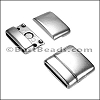 20mm flat ROUNDED magnetic clasp ANT SILVER - per 10 clasps