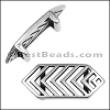 10mm Flat CHEVRON slider ANT SILVER - per 10 pieces