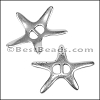 5mm flat SPRAWLING STARFISH slider ANT SILVER - per 10 pieces