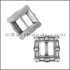 6mm flat FRAME BUCKLE slider ANT SILVER - per 10 pieces