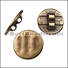 2mm round TEXTURED CIRCLE slider ANT BRASS - per 10 pieces