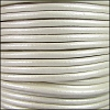 3mm Round Mediterranean Leather METALLIC WHITE - per 20m SPOOL