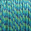 2.5mm variegated parachute cord turquoise/neon green/purple - per SPOOL