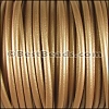 6mm Round (with hole) Portuguese Leather METALLIC GOLD - per 1 meter