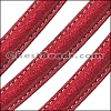 MINI Regaliz® Leather Oval SPARKLE STITCHED RED - per 1 meter