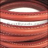 MINI Regaliz® Leather Oval STITCHED RED - per 1 meter