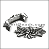Regaliz® FLOWER AND LEAVES spacer ANT. SILVER - per 10 pieces