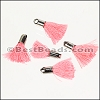 18mm SILVER : PINK Tassel - per 10 pieces