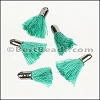 18mm SILVER : TEAL Tassel - per 10 pieces