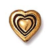 heart bead ANTIQUE GOLD tone