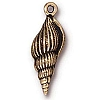large spindle shell charm ANTIQUE GOLD