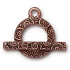clasp set spiral bar & ring ANT. COPPER tone