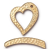 hammertone heart toggle ANTIQUE GOLD tone