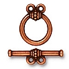 beaded 2 loop toggle ANTIQUE COPPER tone