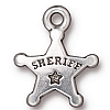 sheriff's badge charm ANTIQUE SILVER